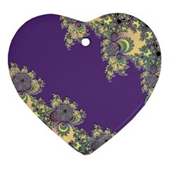 Purple Symbolic Fractal Heart Ornament (two Sides) by UROCKtheWorldDesign