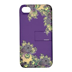 Purple Symbolic Fractal Apple Iphone 4/4s Hardshell Case With Stand by UROCKtheWorldDesign