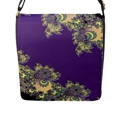 Purple Symbolic Fractal Flap Closure Messenger Bag (large) by UROCKtheWorldDesign