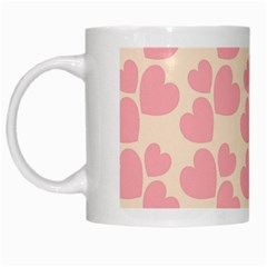 Cream And Salmon Hearts White Coffee Mug by Colorfulart23