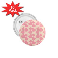 Cream And Salmon Hearts 1 75  Button (10 Pack) by Colorfulart23