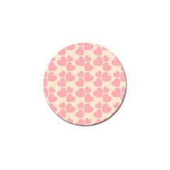 Cream And Salmon Hearts Golf Ball Marker by Colorfulart23