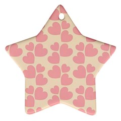 Cream And Salmon Hearts Star Ornament (Two Sides) by Colorfulart23