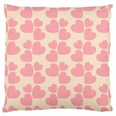 Cream And Salmon Hearts Large Cushion Case (two Sided)  by Colorfulart23
