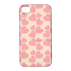Cream And Salmon Hearts Apple Iphone 4/4s Hardshell Case With Stand by Colorfulart23
