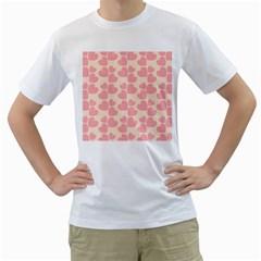 Cream And Salmon Hearts Men s T Shirt (white)