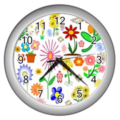Summer Florals Wall Clock (silver) by StuffOrSomething
