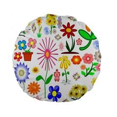 Summer Florals 15  Premium Round Cushion  by StuffOrSomething