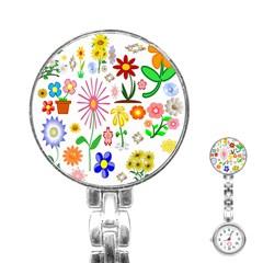 Summer Florals Stainless Steel Nurses Watch