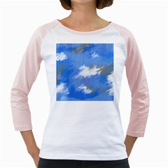Abstract Clouds Women s Long Cap Sleeve T-Shirt (White)