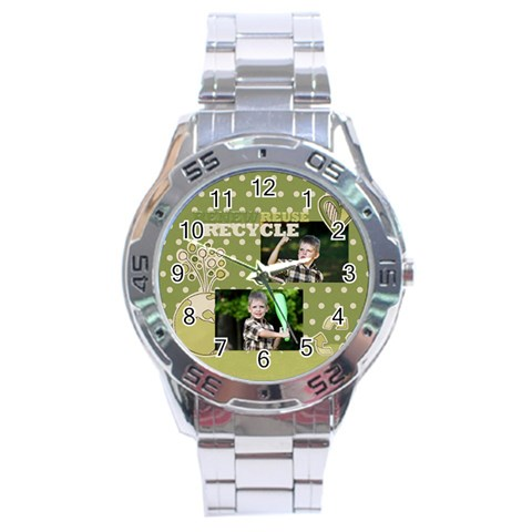 Green, Nature By Angena Jolin   Stainless Steel Analogue Watch   B4hudnm3t7io   Www Artscow Com Front
