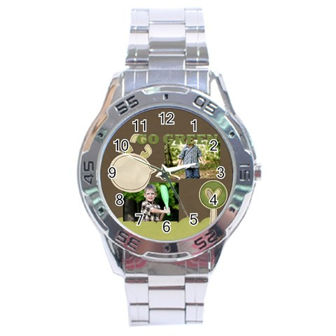 Green, Nature By Angena Jolin   Stainless Steel Analogue Watch   6ycwydhsaajn   Www Artscow Com Front