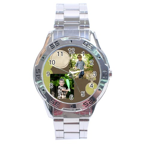 Green, Nature By Angena Jolin   Stainless Steel Analogue Watch   6gtfcpvhhebk   Www Artscow Com Front