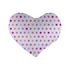 Love Dots 16  Premium Heart Shape Cushion  by houseofjennifercontests