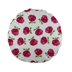 Pink Roses In Rows 15  Premium Round Cushion  by Contest1878042