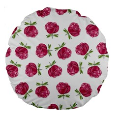 Pink Roses In Rows 18  Premium Round Cushion  by Contest1878042