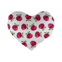Pink Roses In Rows 16  Premium Heart Shape Cushion  by Contest1878042