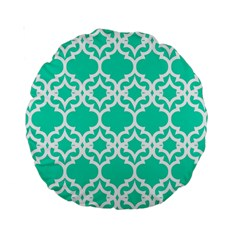 Lattice Stars In Teal 15  Premium Round Cushion