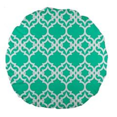 Lattice Stars in Teal 18  Premium Round Cushion  by Contest1878042