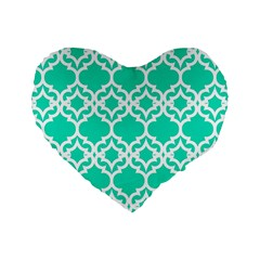 Lattice Stars In Teal 16  Premium Heart Shape Cushion  by Contest1878042