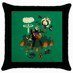 Dino Wars  Black Throw Pillow Case by Contest1878722