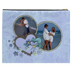 Love  Blue Flowers Xxxl Cosmetic Bag By Mikki   Cosmetic Bag (xxxl)   Sxryn8mxn2ll   Www Artscow Com Back