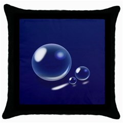 Bubbles 7 Black Throw Pillow Case by NickGreenaway