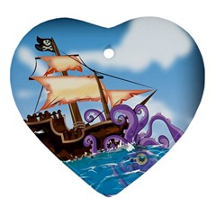 Pirate Ship Attacked By Giant Squid Cartoon Heart Ornament by NickGreenaway