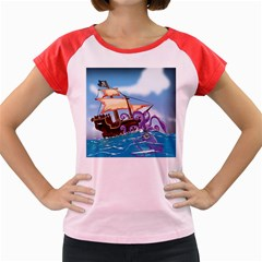 Pirate Ship Attacked By Giant Squid Cartoon Women s Cap Sleeve T Shirt (colored) by NickGreenaway
