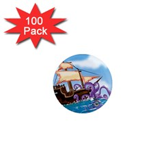 Pirate Ship Attacked By Giant Squid Cartoon 1  Mini Button Magnet (100 Pack) by NickGreenaway