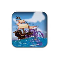 Pirate Ship Attacked By Giant Squid Cartoon Drink Coaster (square) by NickGreenaway