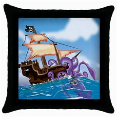 Pirate Ship Attacked By Giant Squid Cartoon Black Throw Pillow Case by NickGreenaway