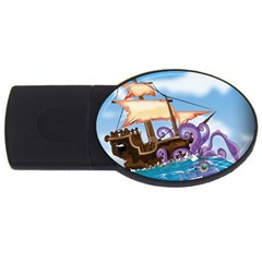 Pirate Ship Attacked By Giant Squid Cartoon 2gb Usb Flash Drive (oval) by NickGreenaway