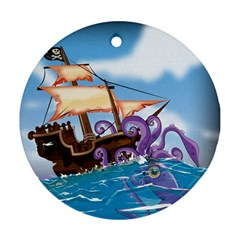 Pirate Ship Attacked By Giant Squid Cartoon Round Ornament (two Sides) by NickGreenaway