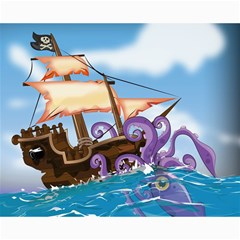 Pirate Ship Attacked By Giant Squid Cartoon Canvas 16  X 20  (unframed) by NickGreenaway