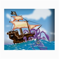 Pirate Ship Attacked By Giant Squid Cartoon Glasses Cloth (small, Two Sided) by NickGreenaway