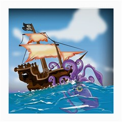 Pirate Ship Attacked By Giant Squid Cartoon Glasses Cloth (medium, Two Sided) by NickGreenaway