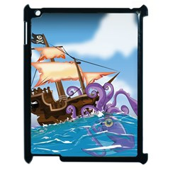 Pirate Ship Attacked By Giant Squid cartoon Apple iPad 2 Case (Black) by NickGreenaway