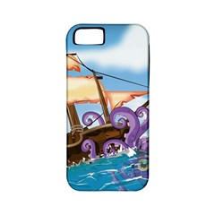Pirate Ship Attacked By Giant Squid Cartoon Apple Iphone 5 Classic Hardshell Case (pc+silicone) by NickGreenaway