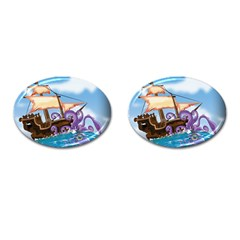 PiratePirate Ship Attacked By Giant Squid  Cufflinks (Oval) by NickGreenaway