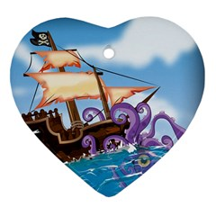Piratepirate Ship Attacked By Giant Squid  Heart Ornament (two Sides) by NickGreenaway