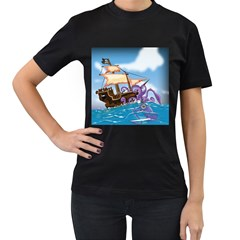 PiratePirate Ship Attacked By Giant Squid  Women s T-shirt (Black)