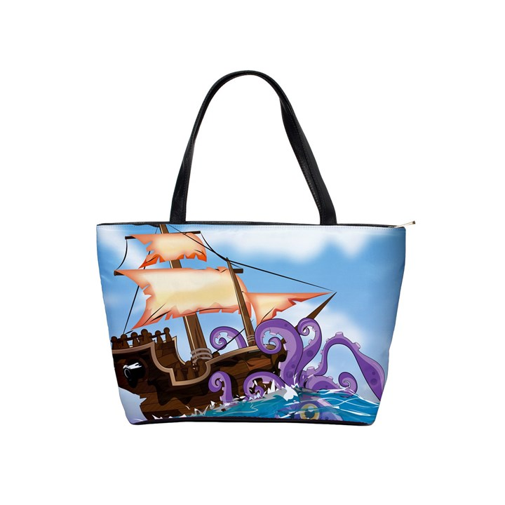 PiratePirate Ship Attacked By Giant Squid  Large Shoulder Bag