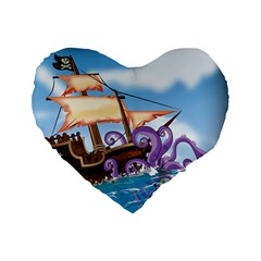 Piratepirate Ship Attacked By Giant Squid  16  Premium Heart Shape Cushion  by NickGreenaway