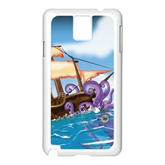 Piratepirate Ship Attacked By Giant Squid  Samsung Galaxy Note 3 N9005 Case (white) by NickGreenaway