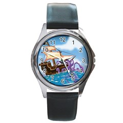Pirate Ship Attacked By Giant Squid Cartoon  Round Leather Watch (silver Rim) by NickGreenaway