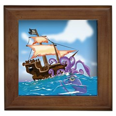 Pirate Ship Attacked By Giant Squid cartoon. Framed Ceramic Tile
