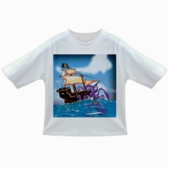 Pirate Ship Attacked By Giant Squid Cartoon  Baby T Shirt by NickGreenaway