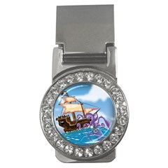 Pirate Ship Attacked By Giant Squid Cartoon  Money Clip (cz) by NickGreenaway