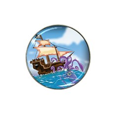 Pirate Ship Attacked By Giant Squid cartoon. Golf Ball Marker 10 Pack (for Hat Clip) by NickGreenaway
